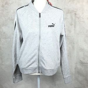 NWT puma gray zip up fleece jacket